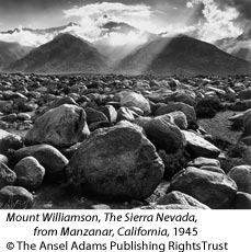 Mount Williamson, The Sierra Nevada, from Manzanar, California, 1945 by Ansel Adams