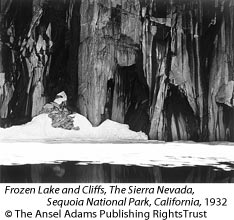 Frozen Lake and Cliffs, The Sierra Nevada, Sequoia National Park, California, 1932 by Ansel Adams