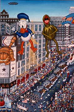 painting titled MACY'S THANKSGIVING DAY PARADE by Kathy Jakobsen